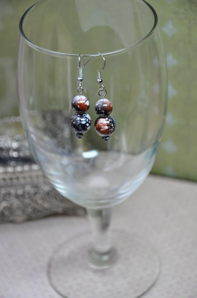 Black With Brown and White Print Bead Drop Earrings