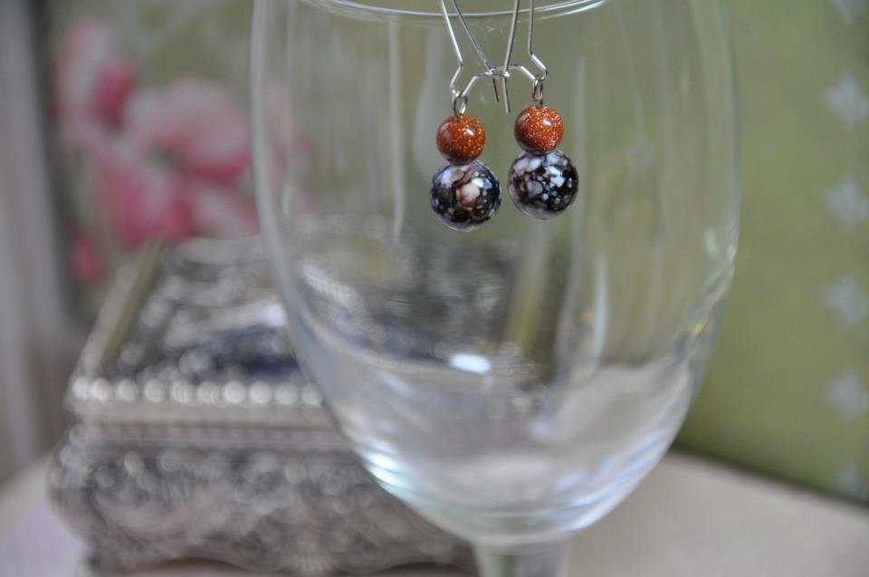 Orange Moonstone Gemstone W Black Print Glass Drop Bead Earrings