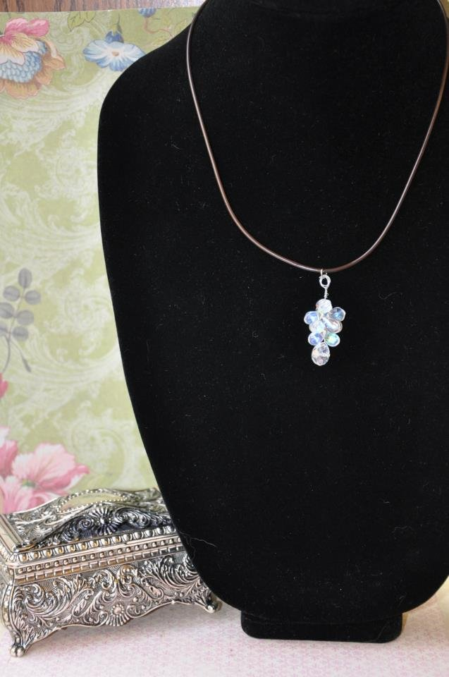 Twisted Teardrop Crystal Necklace on Leather Rope Handmade