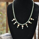 Green Glass Pearl Fringe Necklace