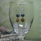 Denim Bead Crystals with Pearl Earrings