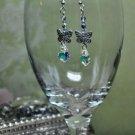 Silver Charm Butterfly Swarovski Crystal Dangle Earrings