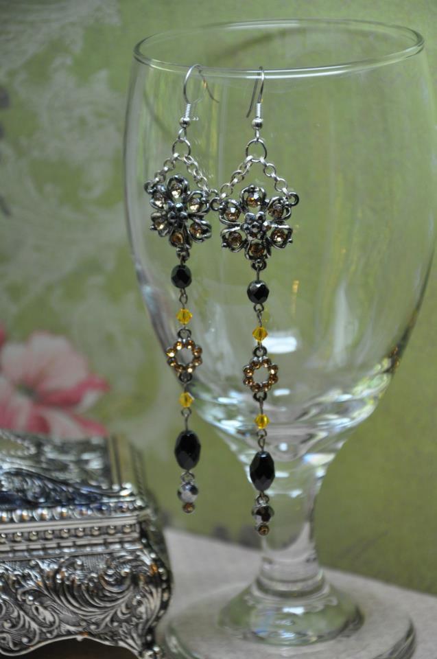 Sunflower Swarovski Crystals Drop Black Bead Earrings Handmade