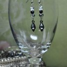 Unique Black Teardrop Clear Swarovski Crystals Butterfly Drop Earrings