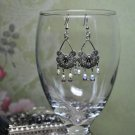 Silver Flower Oval Chandelier Earrings