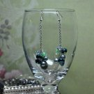 Green Swarovski Crystal On Silver Chain Cluster Bead Earrings
