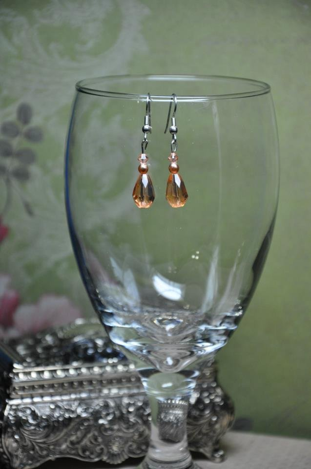 Caramel Bead Teardrop With Tan Swarovski Crystals Drop Earrings Handmade