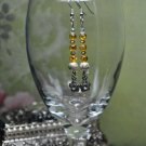 Gold shimmer Drop Bead Earrings With Swarovski Crystal Charms