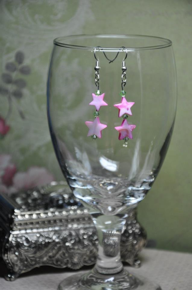 Pink Star Bead Earrings