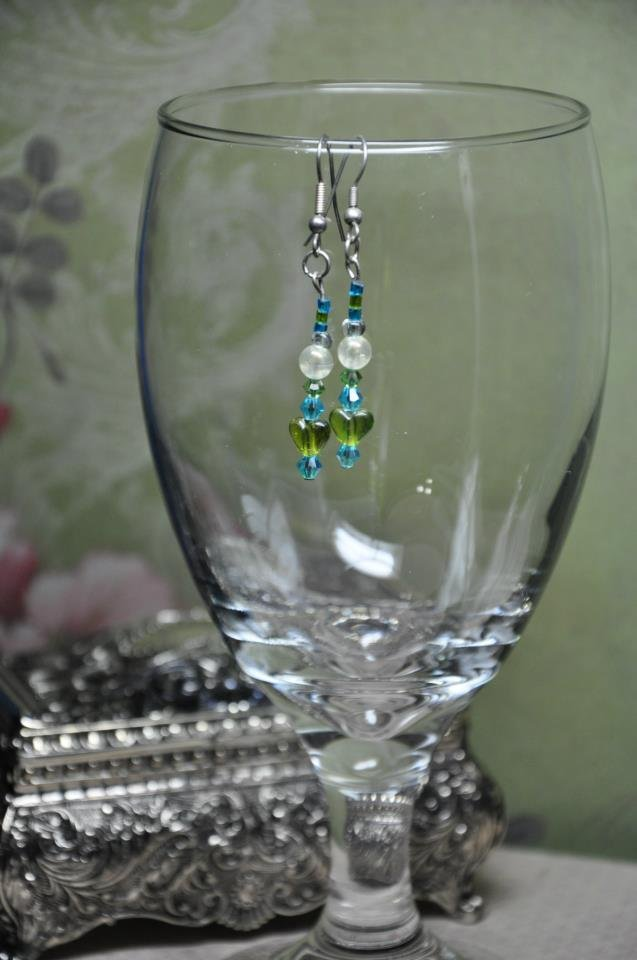 Green and Blue Heart Earrings