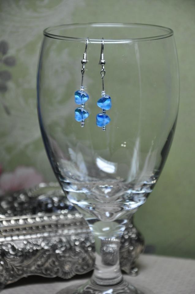 Small Blue Double Heart Bead Earrings