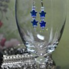 Blue Double Star Drop Earrings.