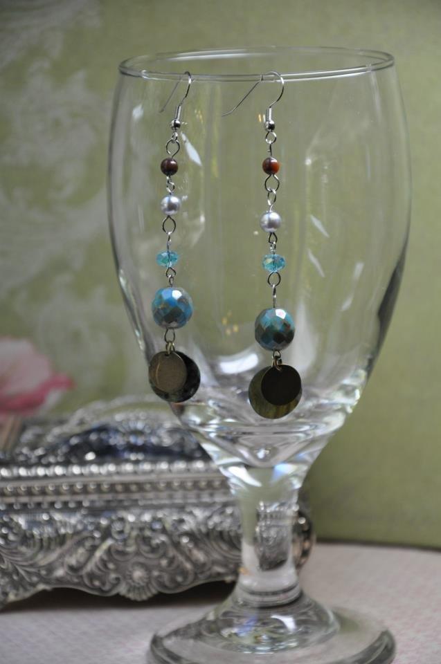 Tiger Eye Gemstone Drop Bead Earrings