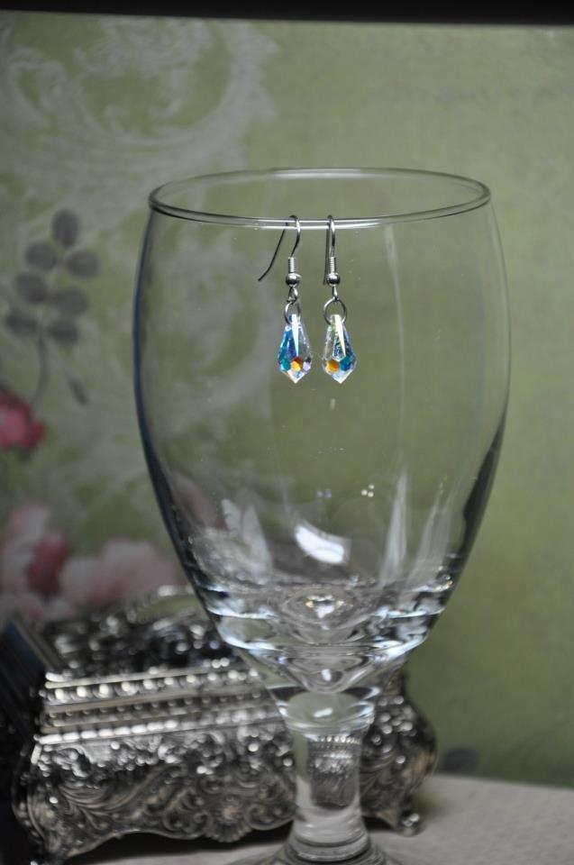 Clear Swarovski Crystal Tear Drop Bead Earrings
