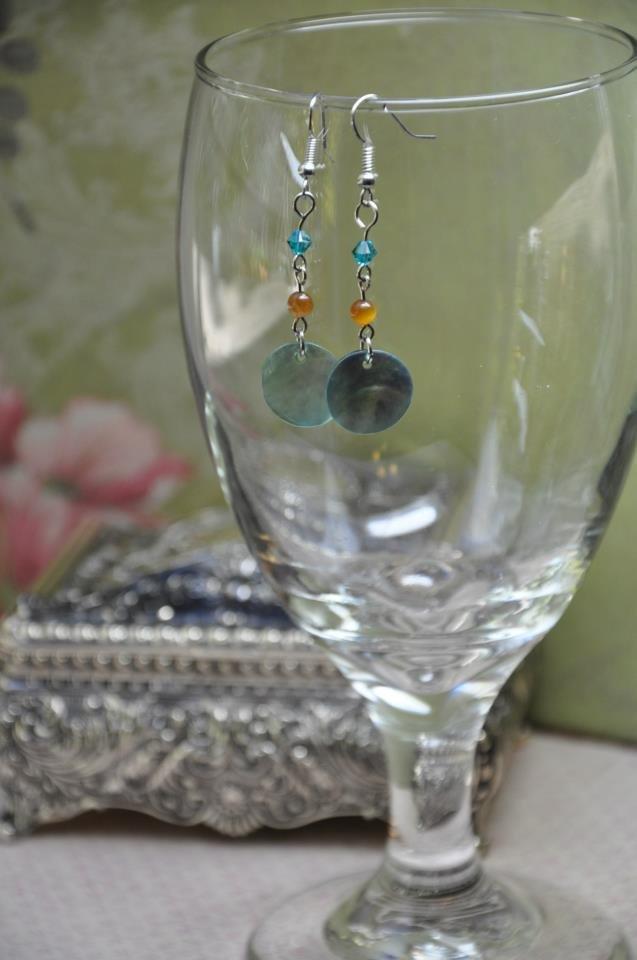 Handmade Swarovski Crystal Sea Foam Green Earrings w Shell Disc Drop