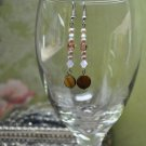 Gold and Rose Pearl Crystal Drop Earrings
