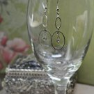 Silver Hoop Rhinestone Bead Dangle Earrings