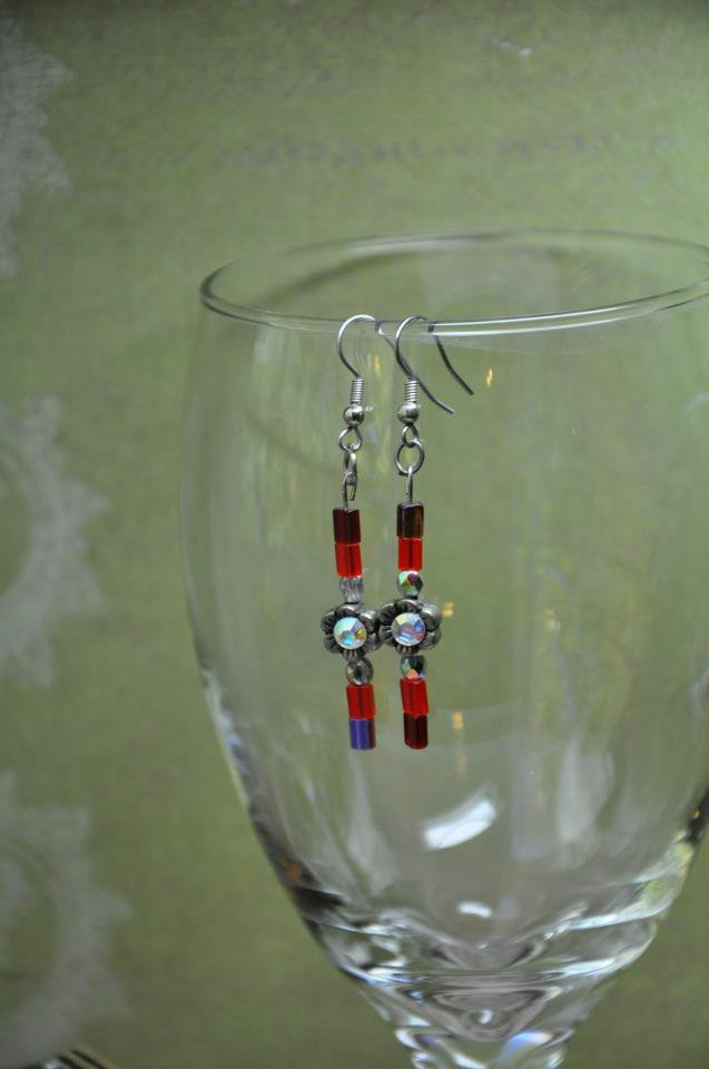 Unique Handmade Red Flower Charm Drop Beaded Earrings