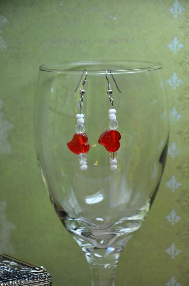 Unique Handmade Red Candy Heart Dangle Bead Earrings By Studio Artist