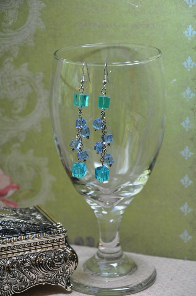 Blue Swarovski Crystal Cube Drop Earrings Handmade