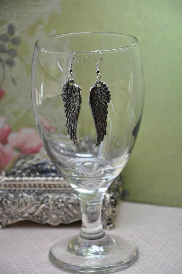 Silver Wing Charm Statement Earrings