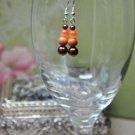 Brown Pearls With Orange Moonstone Beads Drop Earrings
