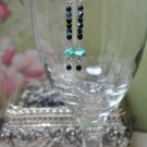 Turquoise and Black Drop Earrings