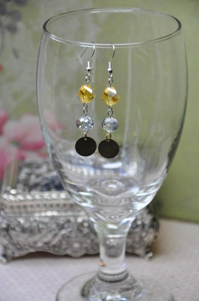 Yellow Crystal Drop Bead Earrings
