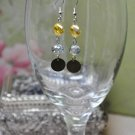 Yellow Crystal Drop Bead Earrings