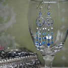 Swarovski Crystal Blue Circle Chandelier Earrings