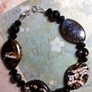 Brown and Black Agate Gemstone Bead Bracelet