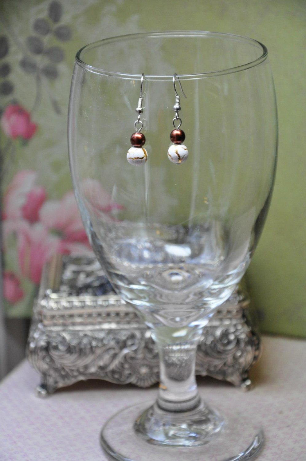 Unique Brown Pearls w White Print Beads with Gold Detail Handmade Dainty Earrings