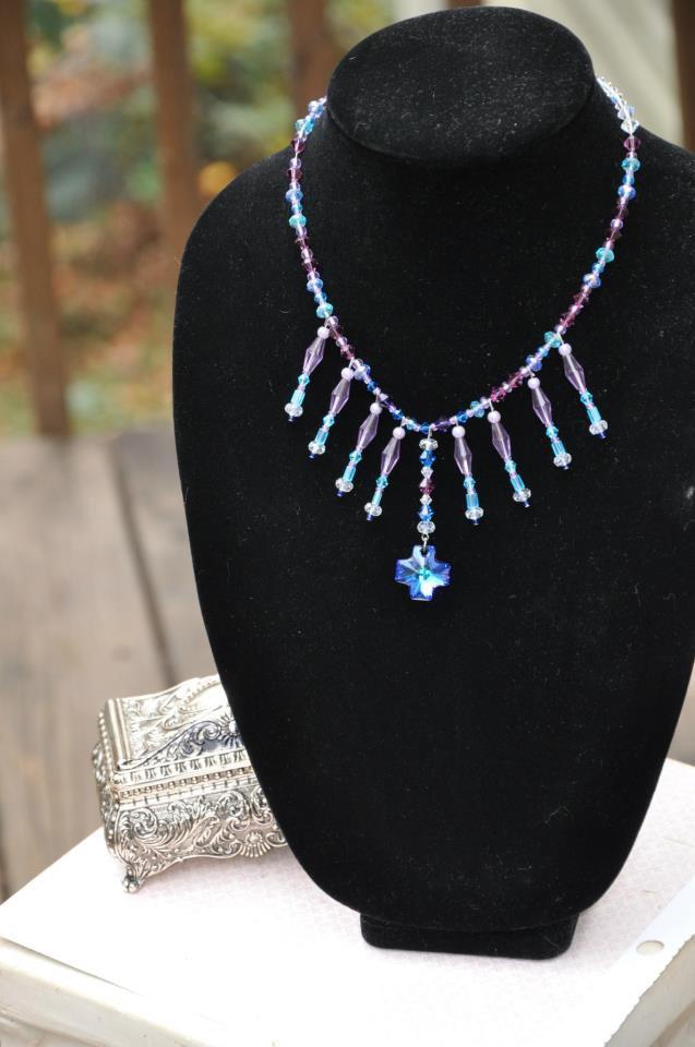 Blue With Purple Swarovski Cross Bead Fringe Crystal Necklace Handmade