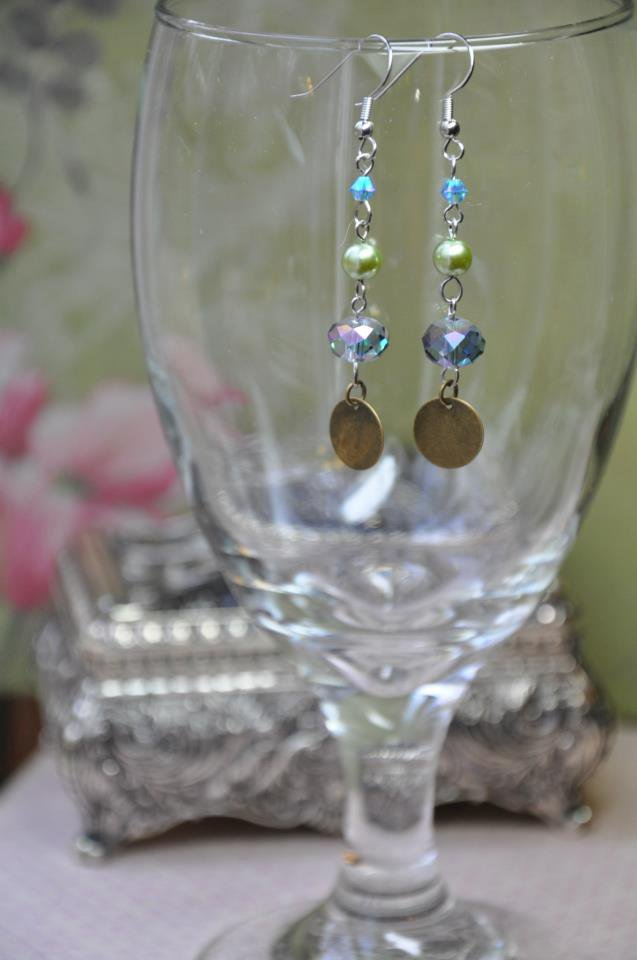 Green and Blue Crystal Drop Earrings
