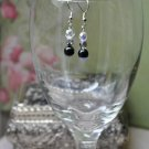 Black Crystal Silver Drop Bead Earrings