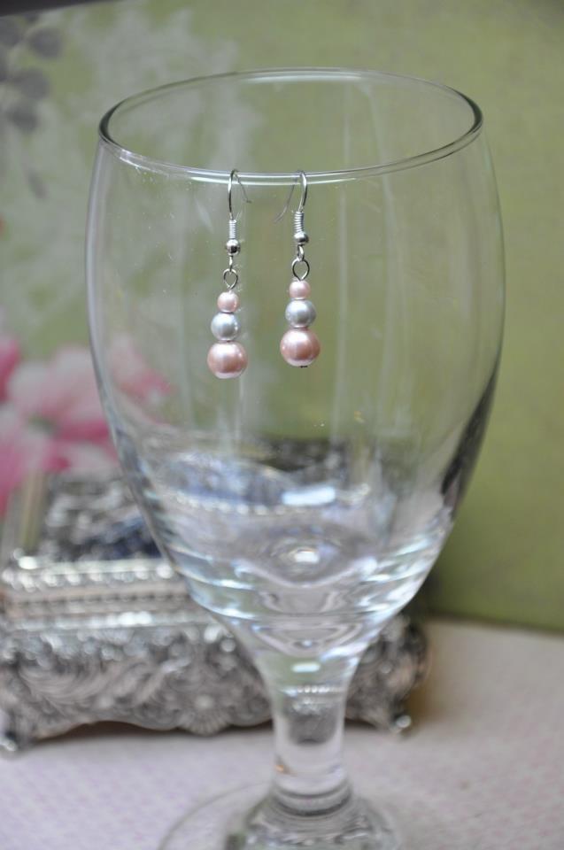 Silver Faux Glass Pearl Drop Bead Earrings