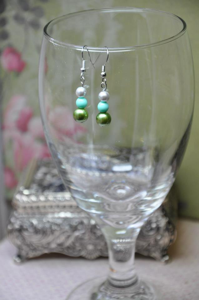 Green and Teal Faux Glass Pearl Drop Earrings