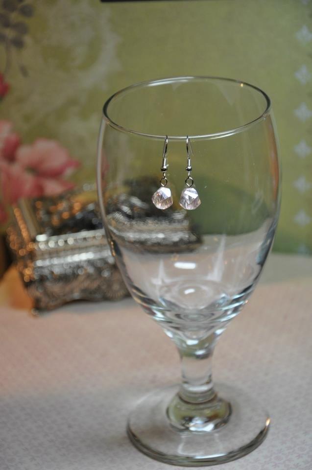 Pink Crystal Pearl Drop Bead Earrings Handmade