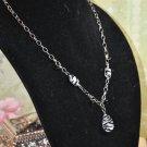 Black Zebra Pendant Bead Charm Y Drop Necklace