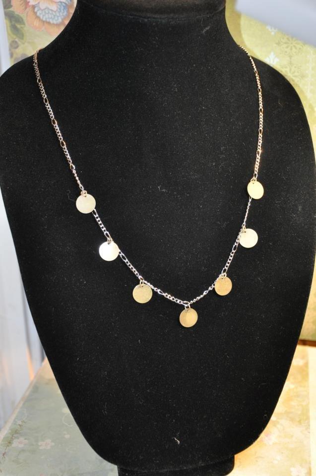 Bronze Charm Disc Bead Necklace Handmade