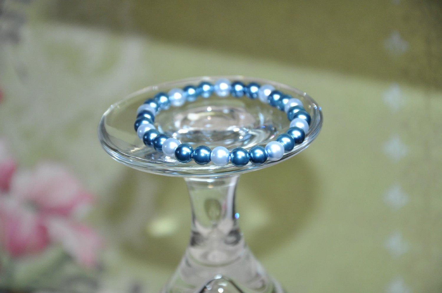 Blue Beads On Stretchy Faux Glass Pearl Bracelet