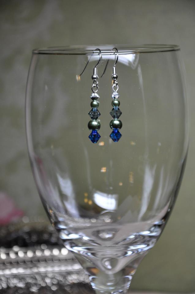 Green and Blue Swarovski Crystal Bicone Drop Earrings