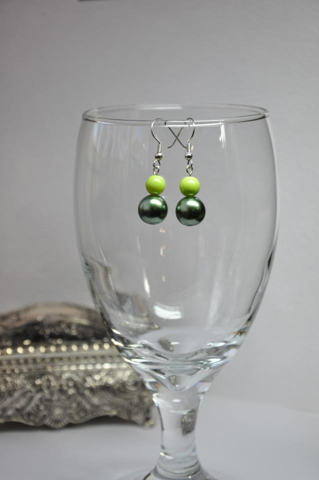 Simple Chunky Lime Green Faux Glass Pearl Earrings