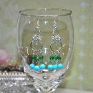 Handmade Green Blue Glass Bead Chandelier Earrings By Bead Studio Artist
