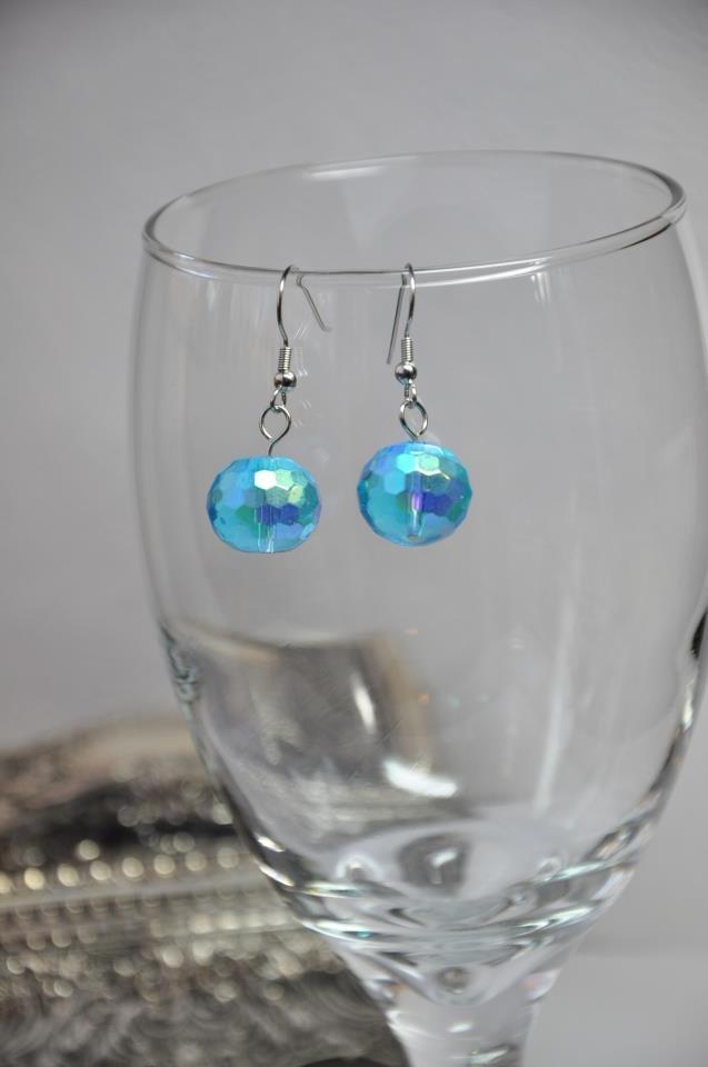 Sky Blue Chunky Round Glass Crystal Bead Drop Earrings