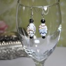 Natural Brown With White Black Agate Gemstone Bead Drop Earrings Handmade