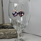 Chunky Purple Crystal Shaped Heart Glass Bead Earrings Handmade