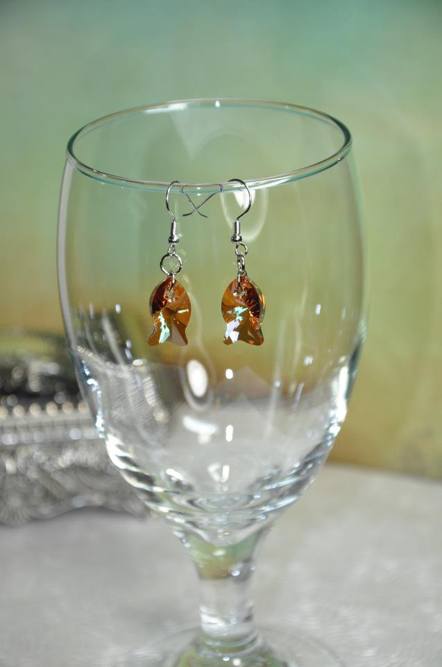 Brown Swarovski Crystal Fish Charm Bead Earrings