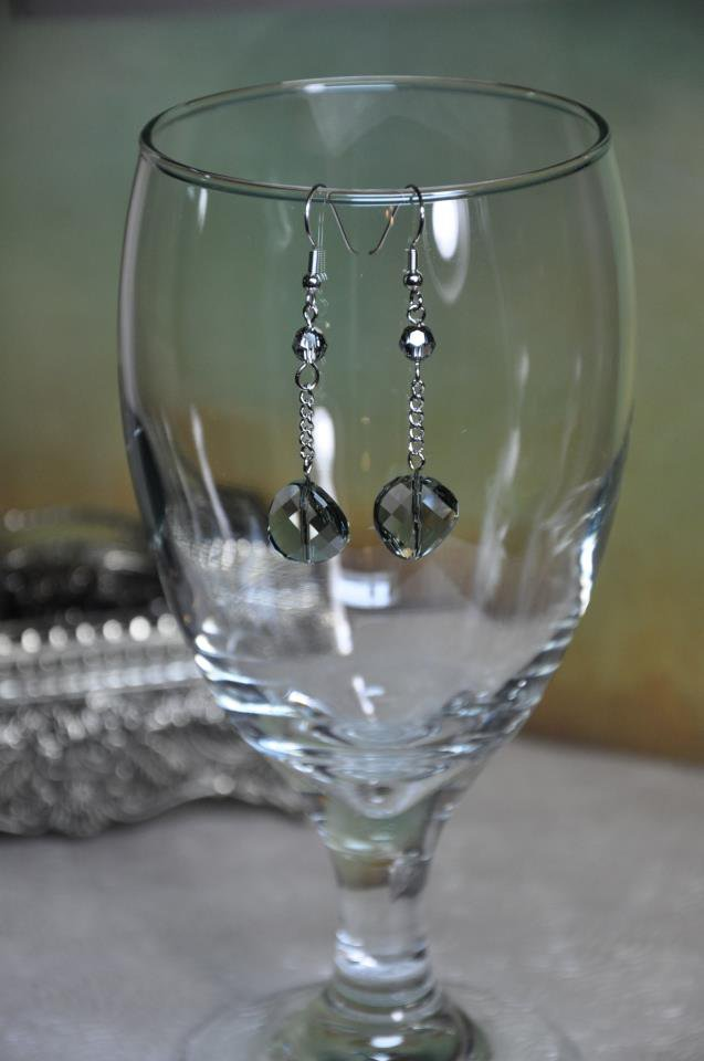 Grey Crystal Swarovski Drop Chain Earrings