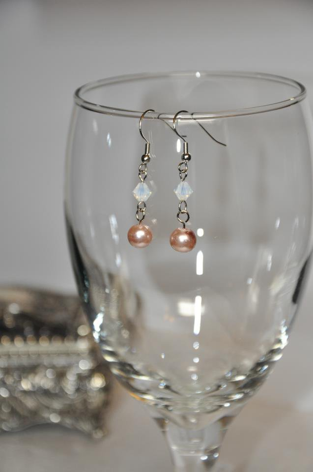 Brown and Pearl Drop Swarovski Bead Earrings